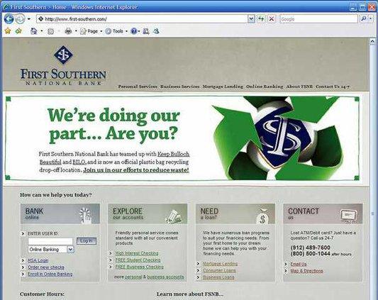 W FSNB website screenshot